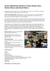 Street Stalls,Kiosks Market in China-Market Sizes, Market Shares and Brand Shares.doc