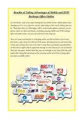 Benefits of Taking Advantages of Mobile and DTH Recharge Offers Online.pdf