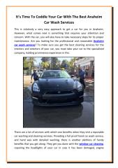 It's Time To Coddle Your Car With The Best Anaheim Car Wash Services.pdf